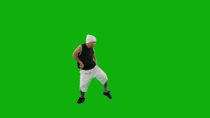 Guy Dancing Hip-Hop on Green Screen