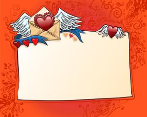 красный фон для любовного признания. валентинка. сердца и ленты