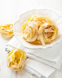 Italian ribbon pasta in a bowl
