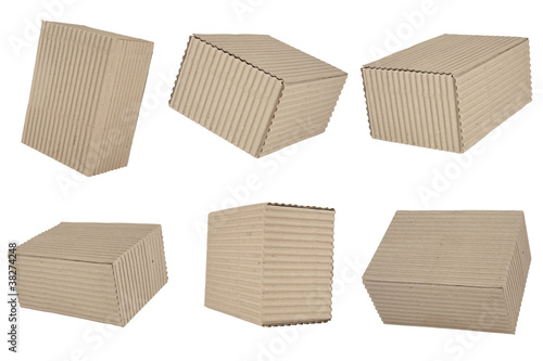 six corrugated cardboard packages