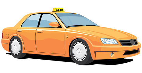 Vector isolated yellow taxi without gradients