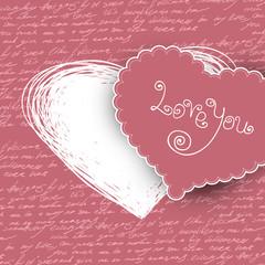 Valentines day card, vector illustration.