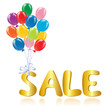 Sale message with balloons
