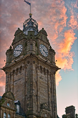 Balmoral Hotel, Princes Street, Edinburgh, Scotland, UK, sunset
