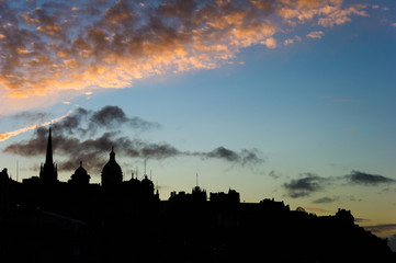 Silhouetted Edinburgh, Scotland, UK, skyline at dusk