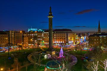 St Andrew's Square, Edinburgh, Scotland, UK, dusk, Christmas