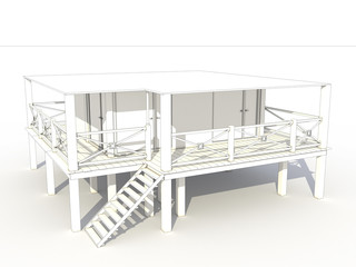 3d drawing of a beach house №2