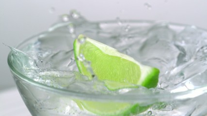 Sliced lime in water, Slow Motion