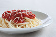 spaghetti with homemade tomato sauce and cheese