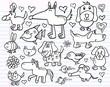 Doodle Sketch Animal Design Elements Vector Set