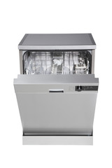 Modern freestanding dishwasher with clipping path.