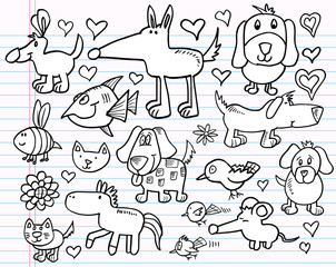 Doodle Sketch Animal Design Elements Vector Set