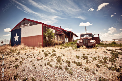Abandoned restaraunt on route 66 road in USA Poster