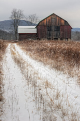 Old Rustic Barn and Snow