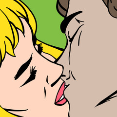 Kiss. Closeup. Illustration in pop-art style, vector.