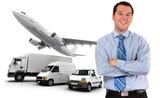 Happy executive and transport logistics