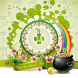 St. Patrick's Day card design with clock