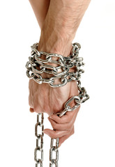 Couple hands chained together