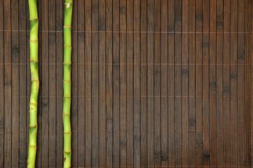 Bambusmatte mit grünem Bambus