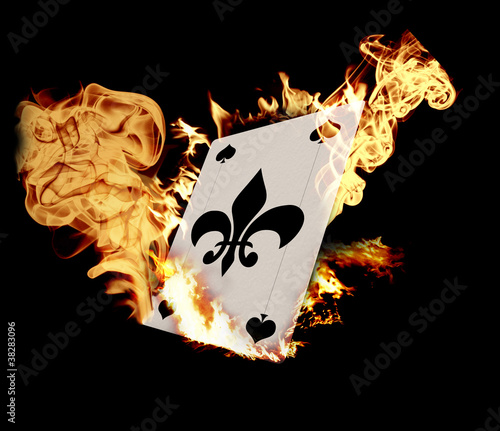 Burning Card illustration over black background