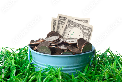 Bucket full of money on a patch of grass