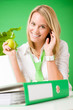 Green office woman smiling hold apple plant