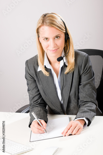Customer service woman call operator phone headset
