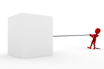 3d man pulling a rope, on white background