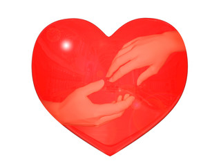 Reflexion of hands in heart