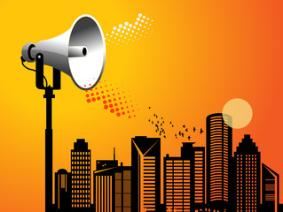 Megaphone urban background with space for text
