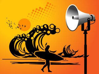 Megaphone on beach background with space for text, vector