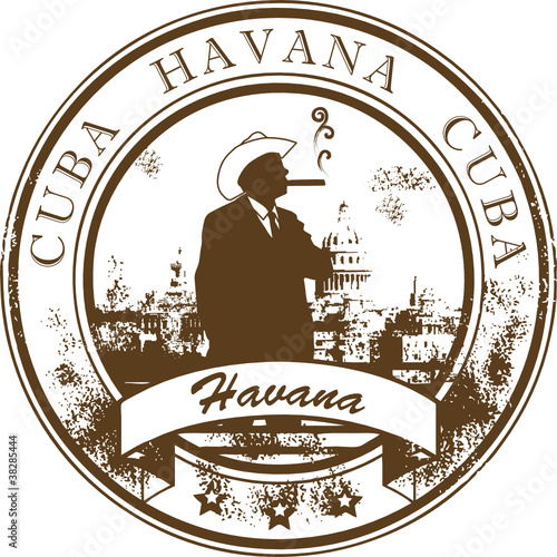 Stamp with Cuba, Havana inside, vector