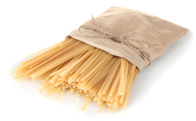 pasta in a bag isolated on white