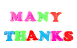 many thanks written in fridge magnets