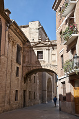 Old street zt the historic city centre of Valencia, Spain
