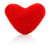 velvety toy heart isolated on white background poster