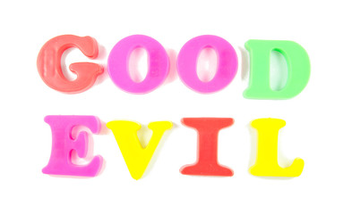 good and evil written in fridge magnets