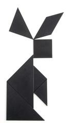 Rabbit made of black puzzle pieces