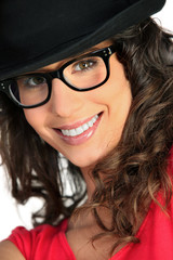 Woman with hat and glasses