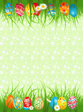 Background  with coloured eggs in a grass