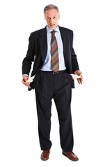 Businessman showing empty pockets isolated on white