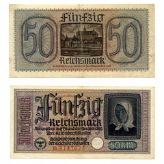 Vintage money - 50 german occupation reichsmarks