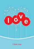 nice illustration featuring the word LOVE in big red balloons