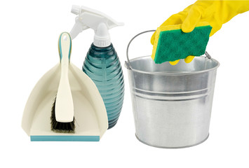 dustpan,pail,spray bottle sponge and brush,isolated