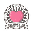 Grunge rubber stamp with heart, lettering Valentine's Day