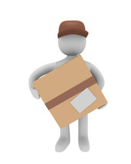 Cheerful parcel deliverer, 3D image