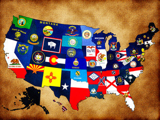 Map of USA with state flags