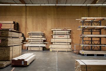Wooden plywood stored in warehouse