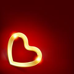 Gold heart Valentine's day vector background