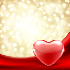 Heart on silk with light Valentine's day vector background